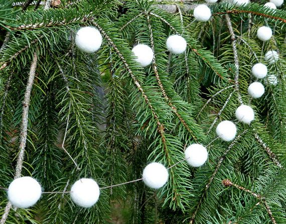 Winter White Garland  a natural rustic garland of soft by MadeMary, $28.00