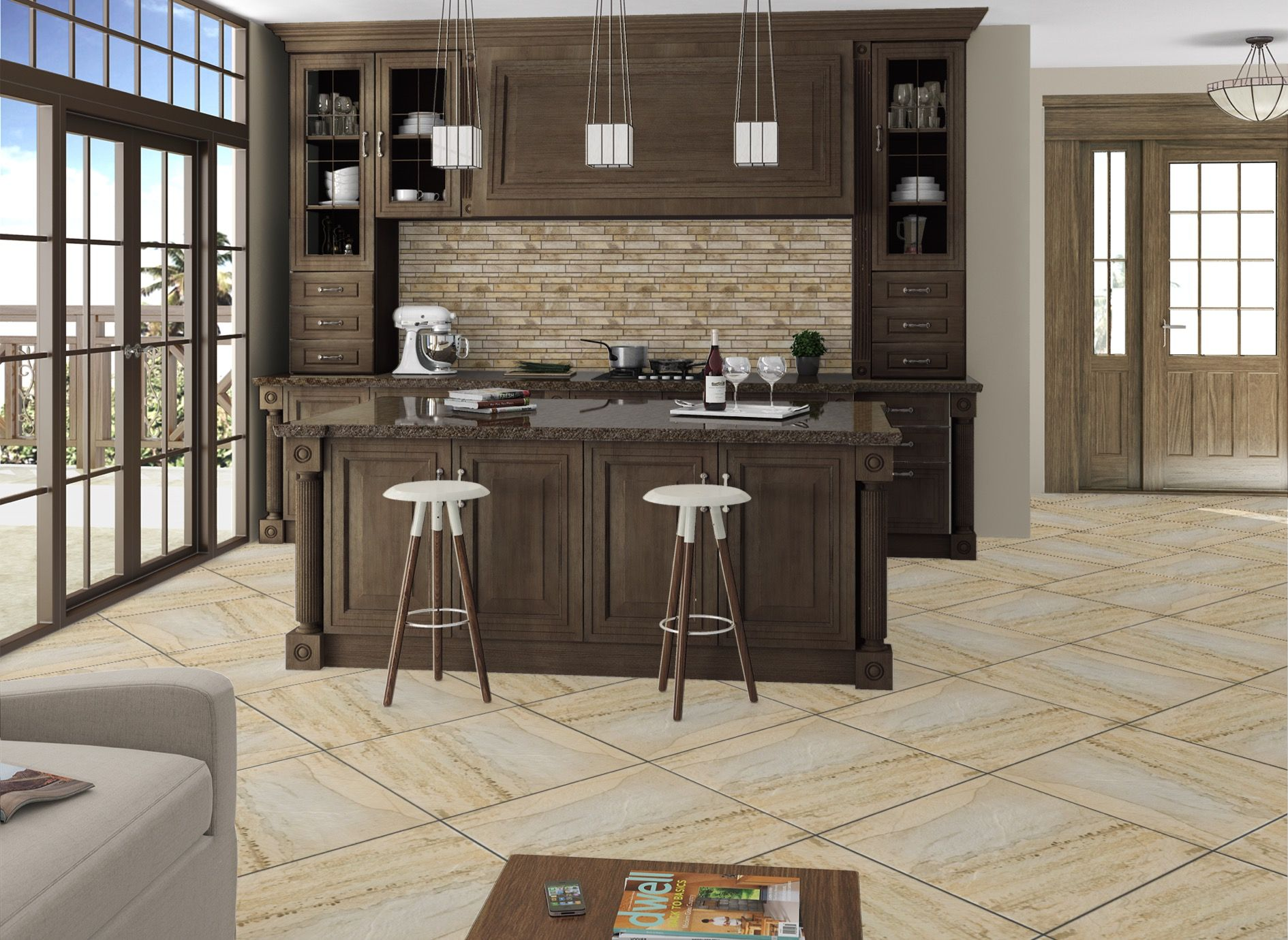 Calabria Linear Mosaic Kitchen Backsplash designed using