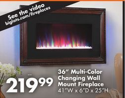 36 multi color changing wall mount fireplace from big lots electric fireplaces. Black Bedroom Furniture Sets. Home Design Ideas