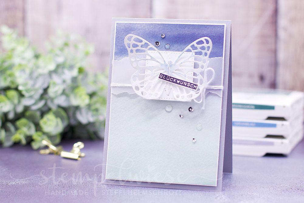 Geburtstagskarte mit Schmetterling in zarten Farben #buntevielfalt ...