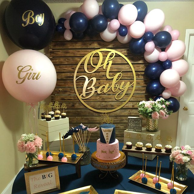 Matte Navy and Matte Chalk Light Pink Balloon Set Gender Reveal Party Girl Boy