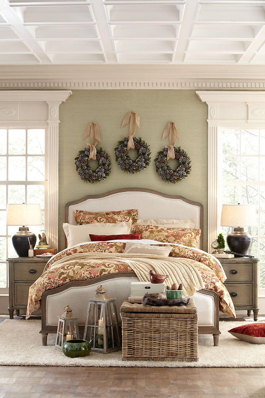 Hang three wreaths in a row over your bed or in your - Over the bed decor ...