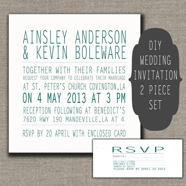 DIY Wedding Invitation SetWedding Invitation and by HowdyPrints ...