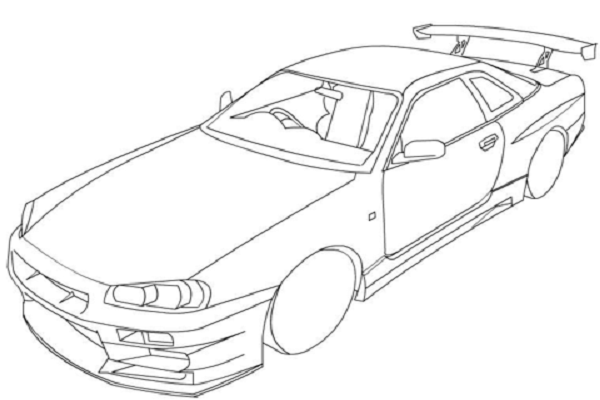 Nissan Skyline R34 Coloring Page Trundling Gently Up And Down This