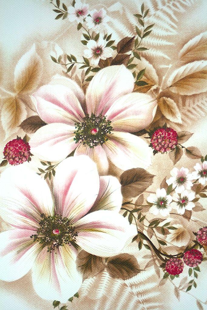 Floral Wallpaper. Original vintage wallpaper with