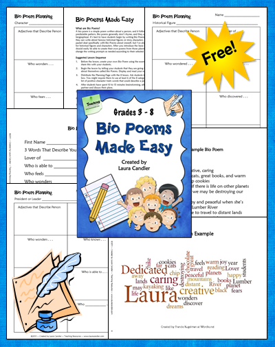 Free Bio Poems Made Easy Elementary Education Middle