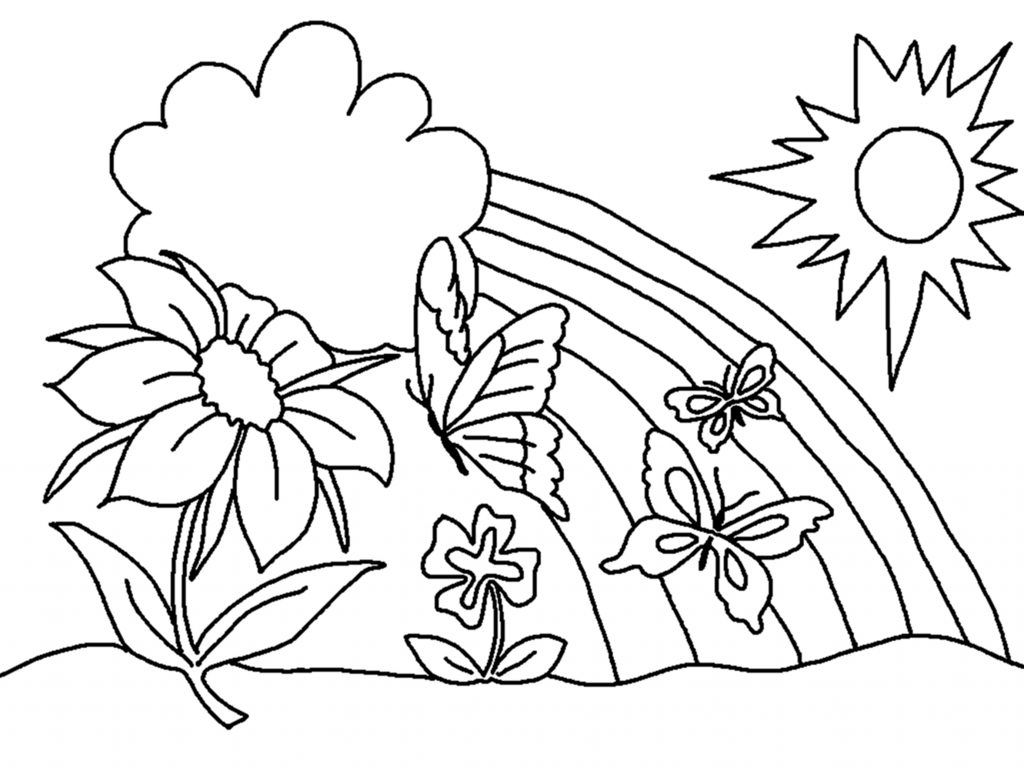 Colouring pages for sun - Happy Flowers With Sun And Rainbow For Coloring