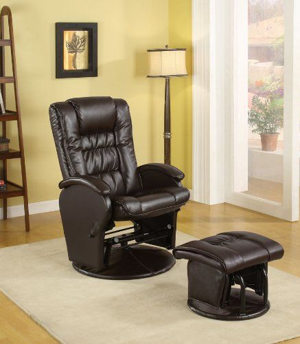 High Quality Coaster Rimini Euro Faux Leather Glider Recliner And Ottoman Set In Brown  Description: Seat Yourself In This Ultra Comfortable Glider Chair And  Matching ...