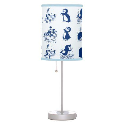 Penguins Whales And Dolphin Table Lamp Zazzle Com Lamp Table Lamp Lamp Shade