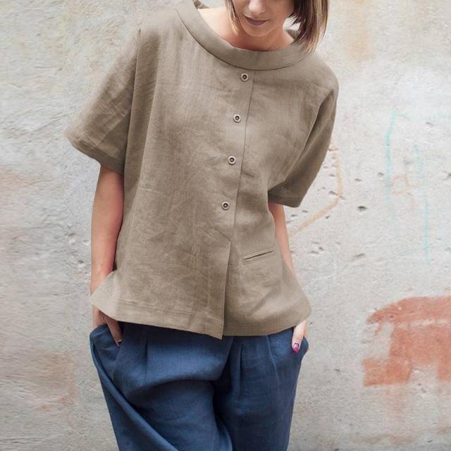 Men Long Sleeve Cotton Linen Casual Button Down Vintage Top Blouse Shirt Holiday
