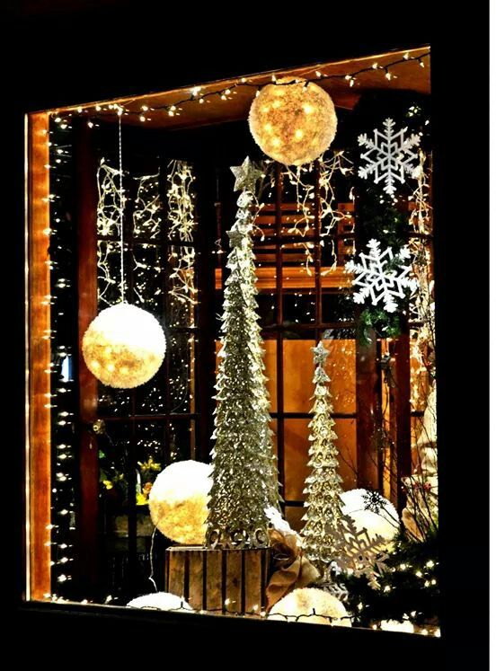 Turning this window display into a shadow box.   Holiday ...