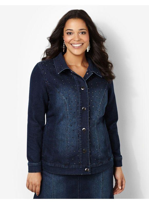 e4f3130d03d Catherines Plus Size Shimmer Denim Jacket - Women s Size 2X