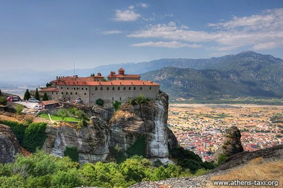 """Meteora  Monasteries is one of the second most important groups of monasteries in Greece, after Athos. The monks chose this unearthly place to settle their monasteries on the """"columns of the sky"""" as they are called, from the 11th century onwards.  The monasteries on the Meteora rocks have been characterized by Unesco as a unique phenomenon of cultural heritage and are included in the list of World Heritage sites.  from: http://www.athens-taxi.org/meteora-monasteries"""