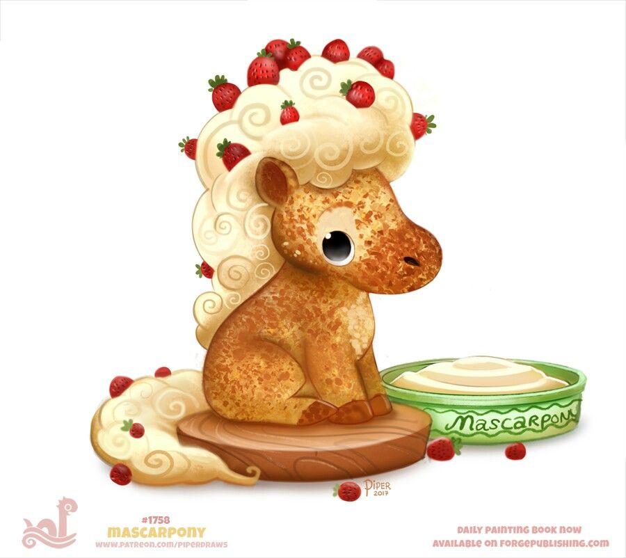 Daily Paint 1758 Mascarpony Cute Food Drawings Cute Animal