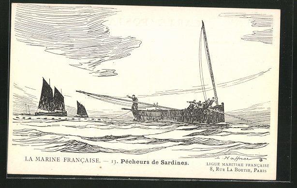 carte postale ancienne: CPA Pecheurs de Sardines, pêcheurboot | Carte postale, Cartes postales ...