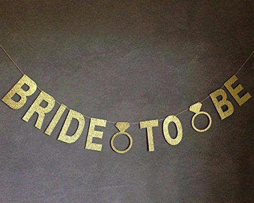 giftdecor bride to be gold glitter banner with diamond rings bridal shower decorations bachelorette party decorations