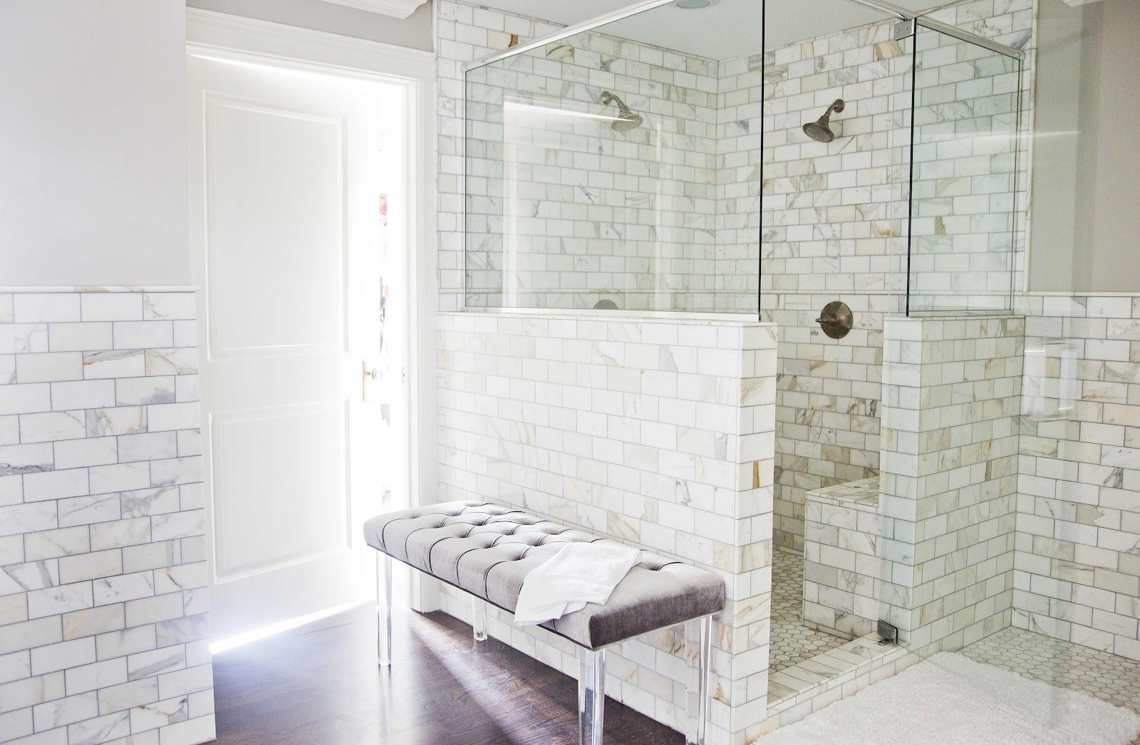 Dark wood floors calcutta gold marble tile benjamin moore revere source white gold design stunning master bathroom with gray paint color calcutta gold marble subway tile backsplash open shower with calcutta gold dailygadgetfo Images