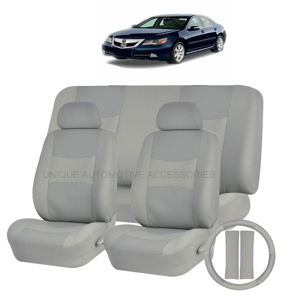 Pu Leather Solid Gray Seat Covers 11Pc Set For Acura Tsx