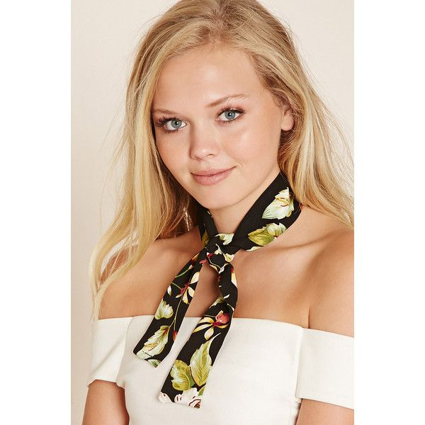 Forever21 Floral Print Oblong Scarf (180 DOP) ❤ liked on Polyvore featuring accessories, scarves, floral shawl, forever 21, long scarves, floral scarves and floral print scarves