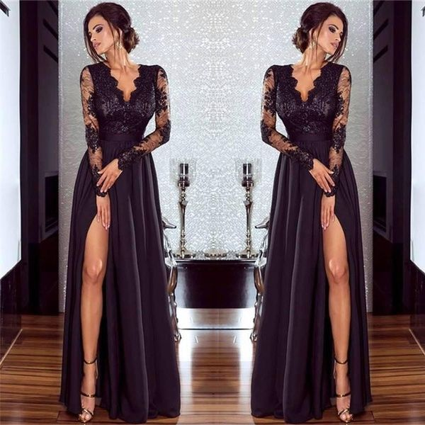 New Robe Soiree Ladies Sexy Black Lace Formal Evening Dresses Illusion Long Sleeves Split Prom Dresses Party Long Dress