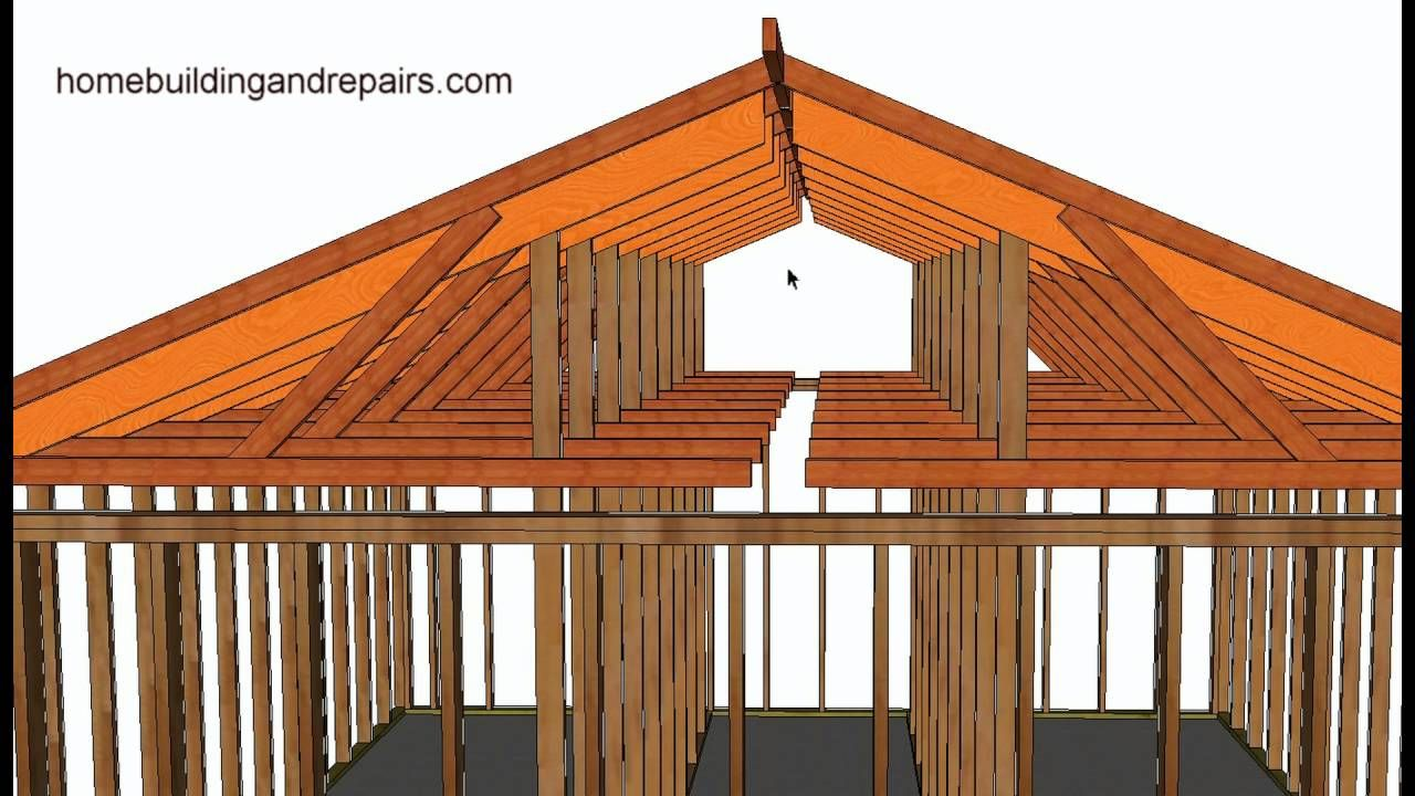 How To Convert Existing Truss Roof Flat Ceiling To Vaulted Ceiling Using Rafters Post And Beam Youtube Ceiling Remodel House Roof Roof Truss Design