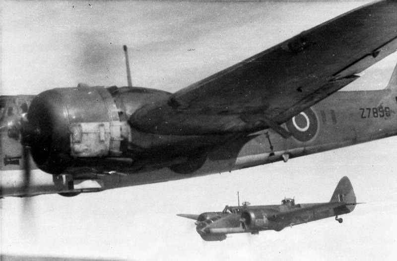 Bristol Blenheim's of No. 113 Sqn RAF, in flight during a bombing sortie over Burma. October 1942. (IWM)  Note: In the foreground is Blenheim Mark IV, Z7856; in the background, a Blenheim Mark V. No. 113 Sqn was based at Asansol, India from April-December 1942.
