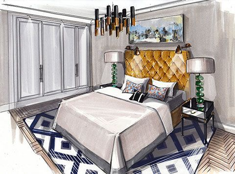 croquis d 39 ambiance chambre charme t te de lit. Black Bedroom Furniture Sets. Home Design Ideas