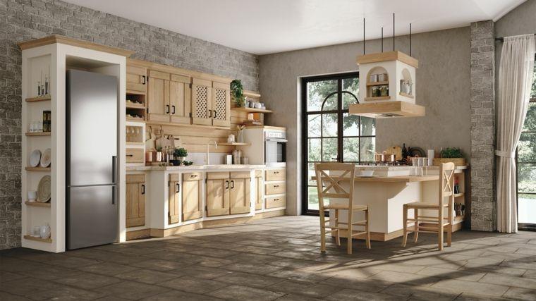 Arredamento per cucine in muratura con penisola adibita a tavolo con sedie struttura bianca e - Cucine in legno chiaro ...