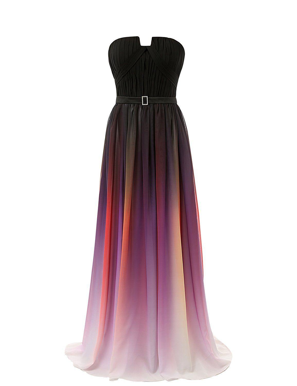 Belle house womenus gradient color chiffon formal evening dress long