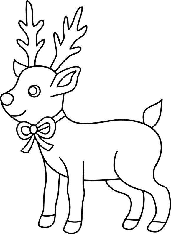 Рождественская раскраска, олень рождественских раскраски ...