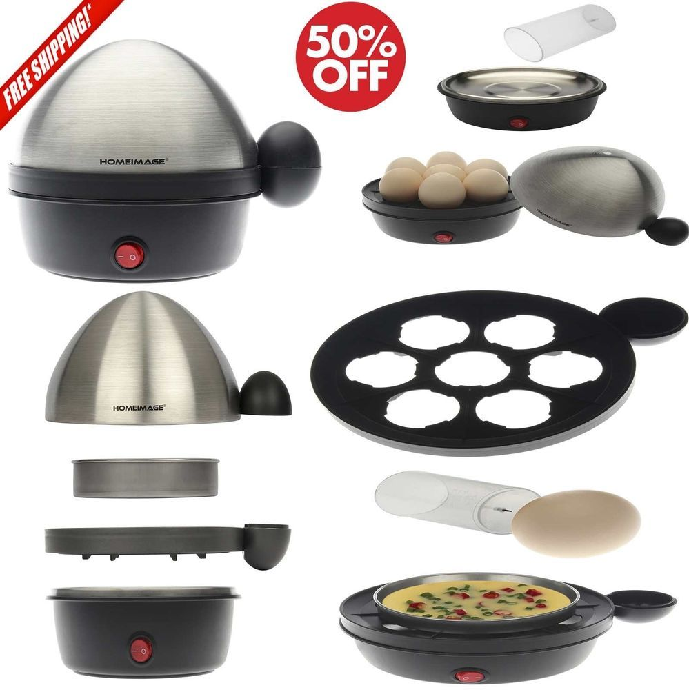 HI-200AS HOMEIMAGE Electric 7 Egg Cooker and Poacher with Stainless Steel Tray /& Lid