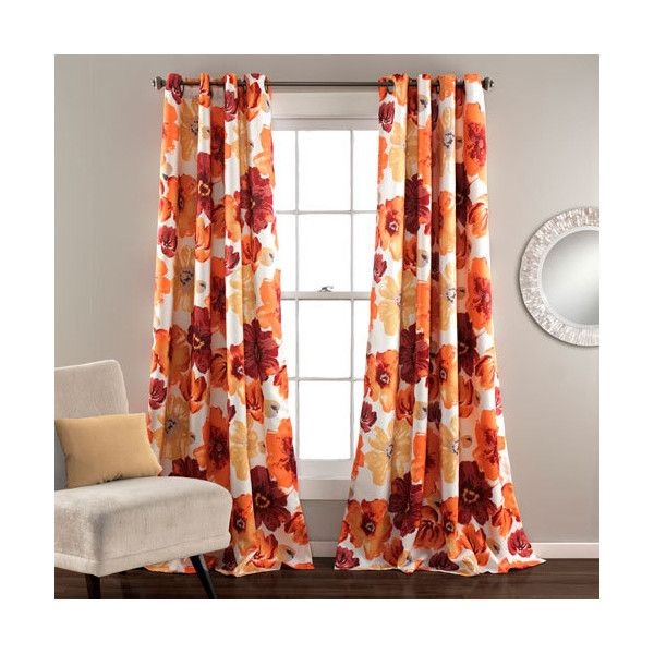 Lush Decor Leah Red And Orange 84 X 52 Inch Curtain Panel Pair 55 Liked On Polyvore Featuring Home Home Decor Window Orange Curtains Lush Decor Curtains