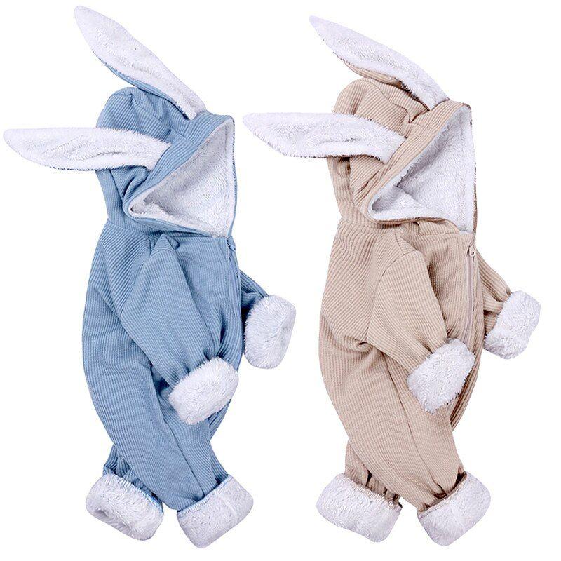 Winter Baby Romper Newborn Boy Girl Overalls Infant Costume Warm Toddler Jumpsuit Cute Rabbit Solid Outfits For 0 18 Toddler Outfits Baby Winter Baby Costumes