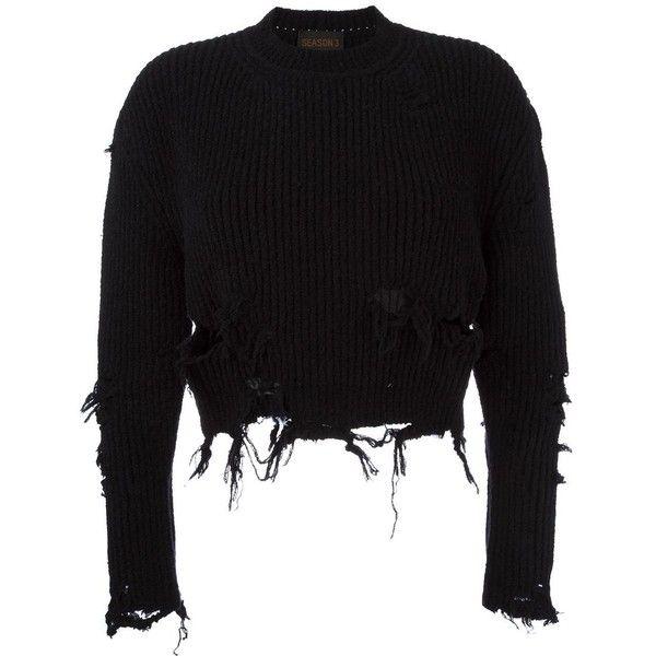 Yeezy Season 3 destroyed crop boucle sweatshirt ($713) ❤ liked on Polyvore featuring tops, hoodies, sweatshirts, black, cropped sweatshirt, adidas originals sweatshirt, adidas originals, distressed top and distressed sweatshirt