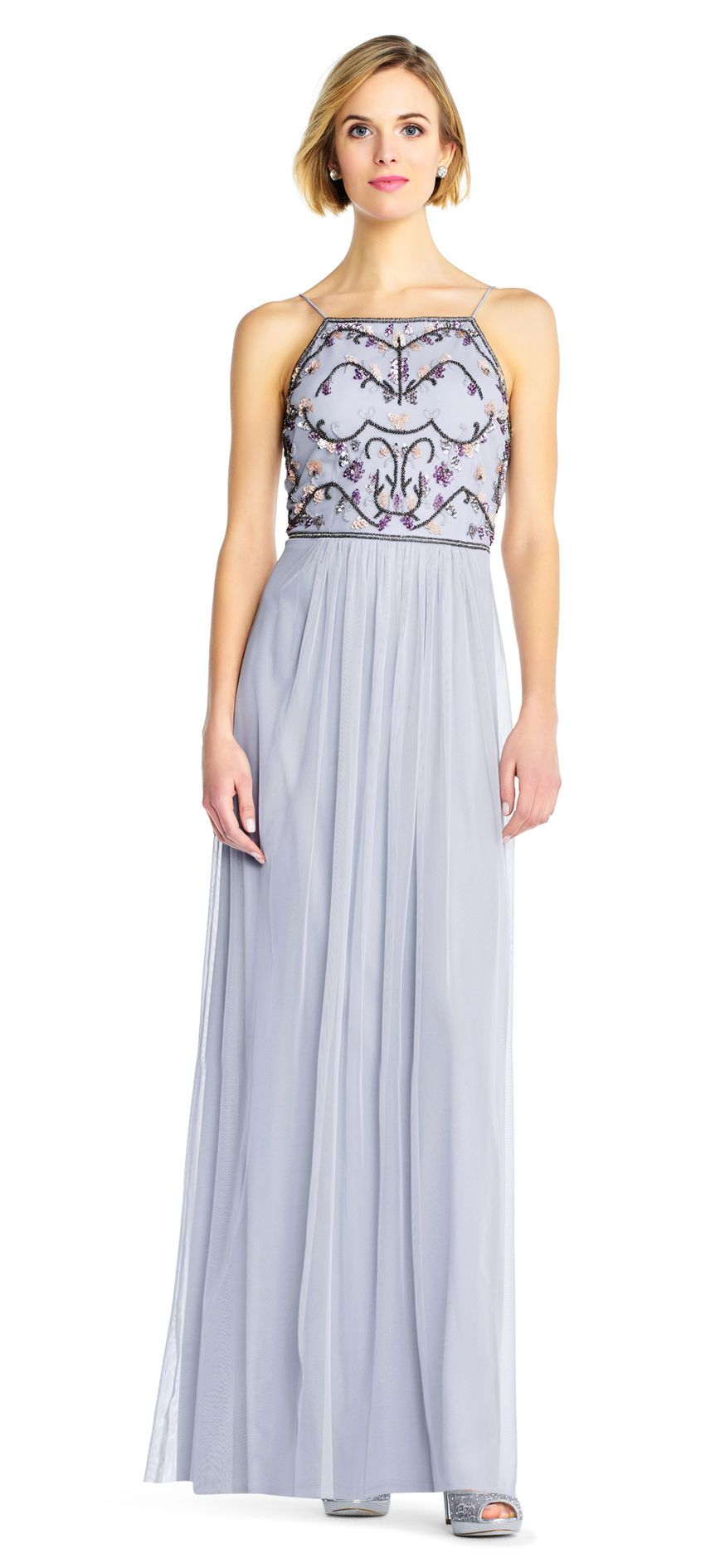 Tulle Halter Gown with Multicolor Floral Beading   Dress   Pinterest ...