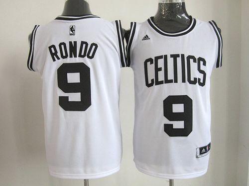 9179721d465 Celtics  9 Rajon Rondo White(Black No.) Stitched NBA Jersey Cheap Authentic  Custom Jerseys