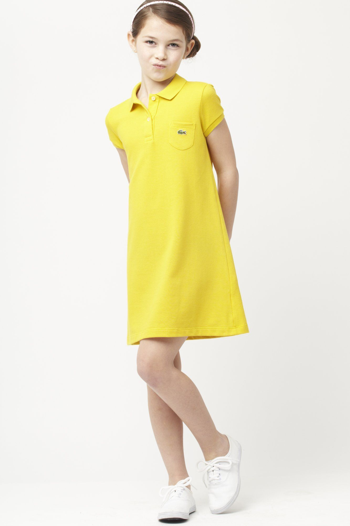 146aa32b Lacoste Girl's Short Sleeve Classic Pique Polo Dress : Dresses ...