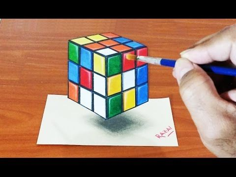 Tuto 1 How To Draw And Paint Rubik S Cube 3d Illusion Dessin 3d