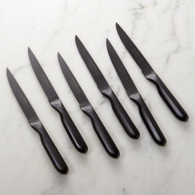 Prime By Chicago Cutlery Black Oxide 6 Piece Steak Knife Set Crate And Barrel Steak Knives Steak Knife Set Global Knife Set