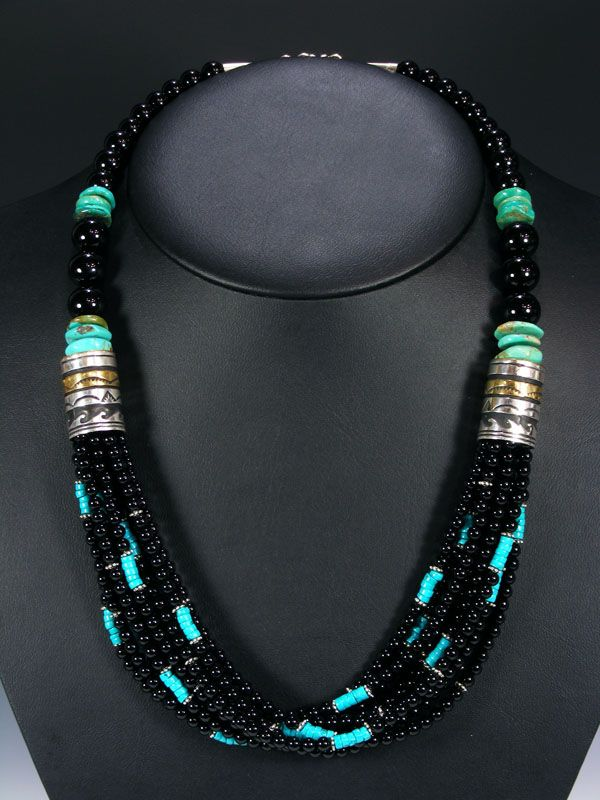 Pueblo Direction Multistrand Necklace Turquoise Onyx