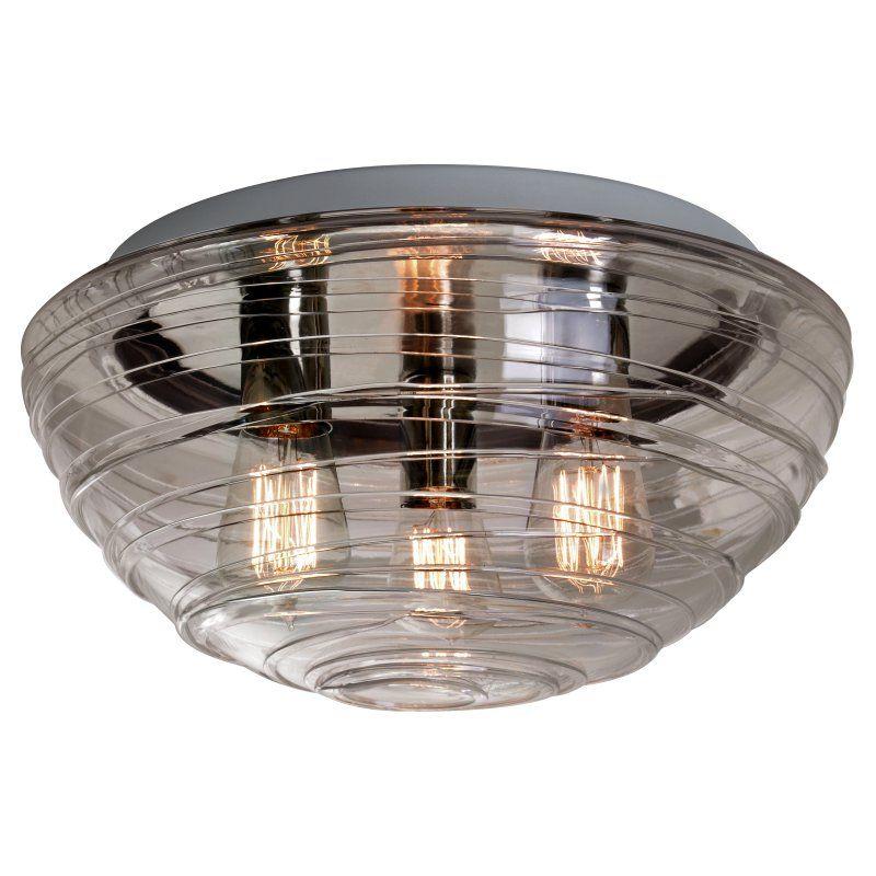 Besa Wave 15 Ceiling Flush Mount Light with Smoke Glass - 906302C-EDI