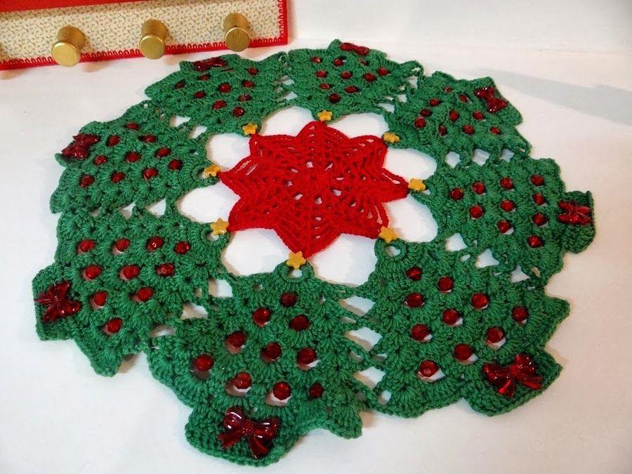 Amigurumis Navideños Patrones Gratis : Patrones crochet: tapete mantel arboles de navidad patron varios