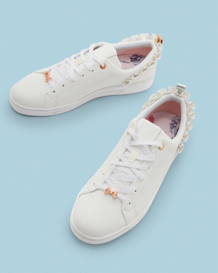 ca3b9f014 Ruffle detail trainers - White
