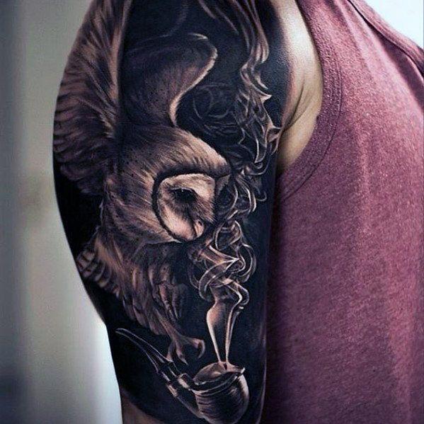 50 Owl Sleeve Tattoos For Men Nocturnal Bird Design Ideas Tats