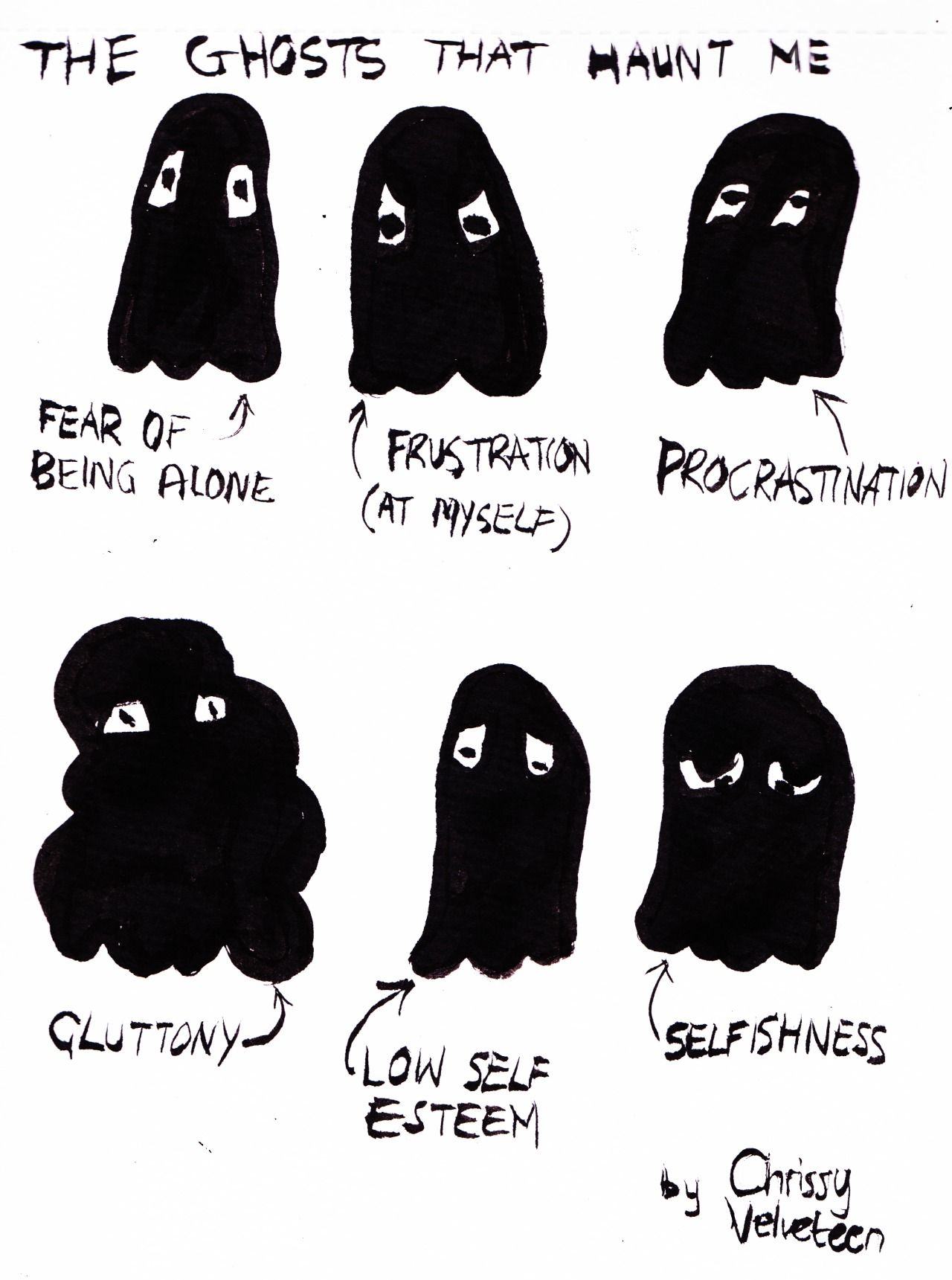 Art Directive Chrissy Velveteen Drawing Representations Of Ghosts That Haunt You Can Be