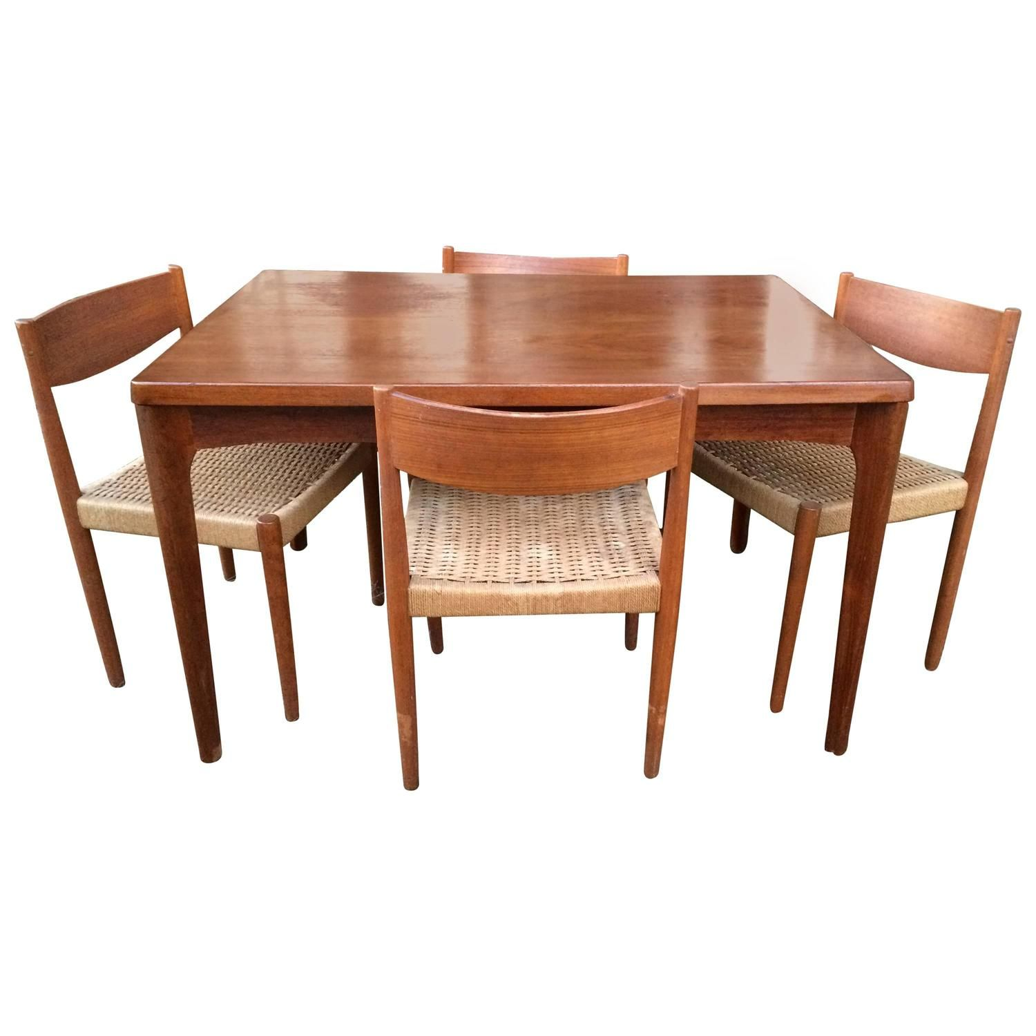 Danish Modern Extendable Teak Dining Table with Woven Chairs ...