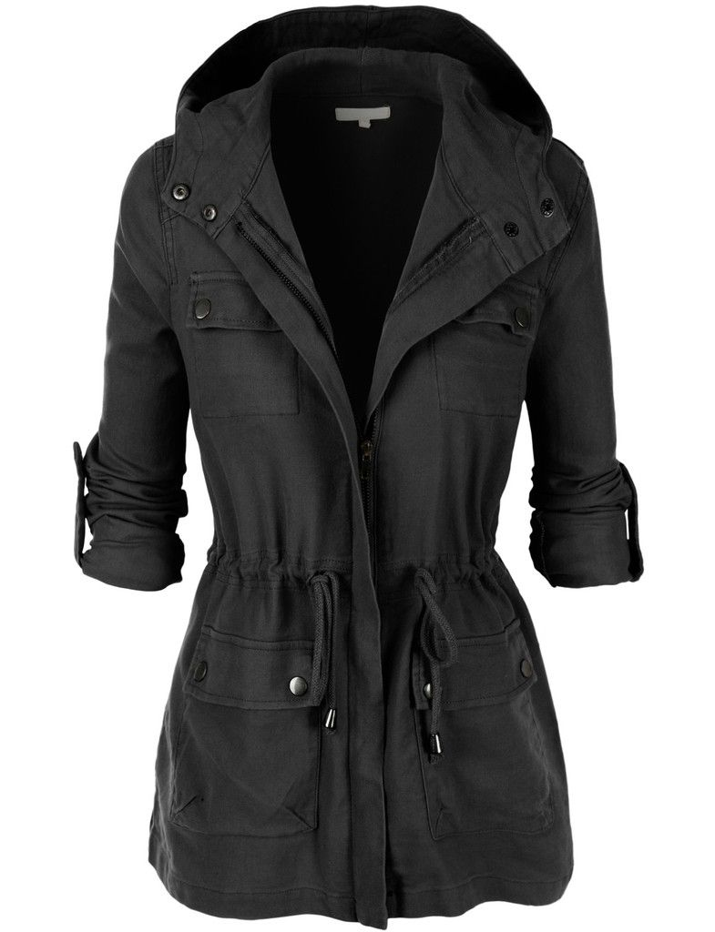 LE3NO Womens Lightweight Military Anorak Jacket with ...