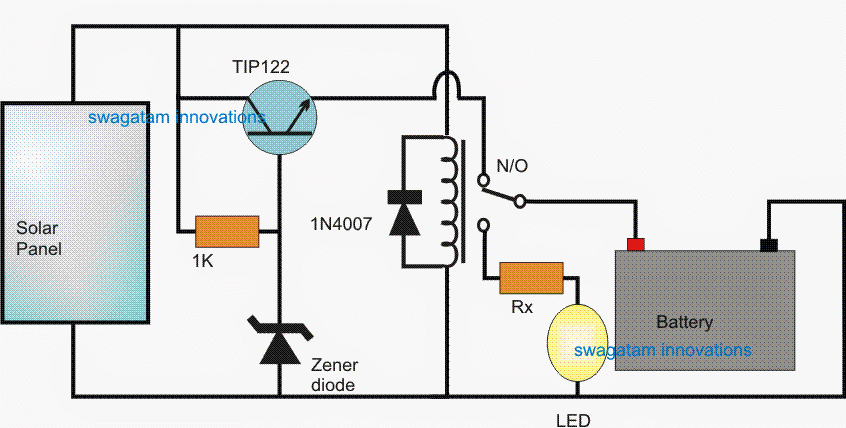 The Following Easy Solar Light Circuit Is Made For Charging A Battery Pack For The Duration Of Day Solar Battery Charger Battery Charger Circuit Solar Battery