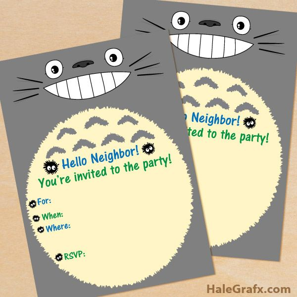 FREE Printable My Neighbor Totoro Birthday Invitation – Totoro Birthday Card