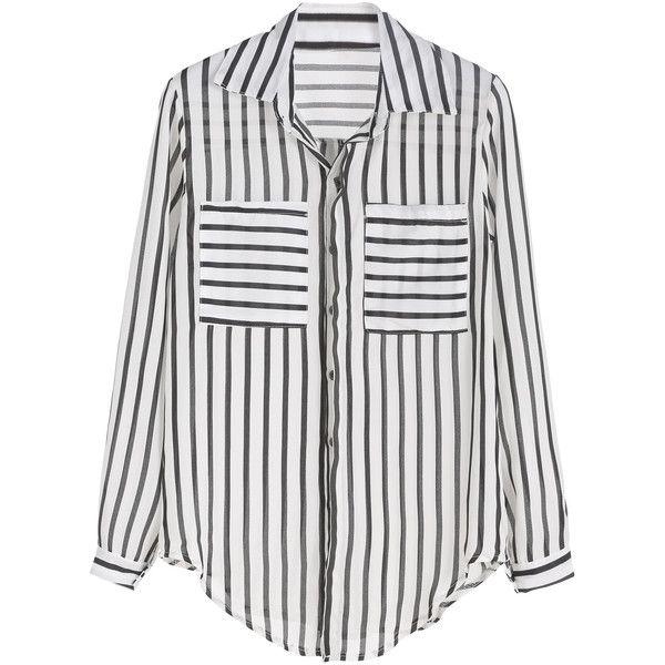 Black And White Vertical Striped Curved Hem Pocket Blouse ...